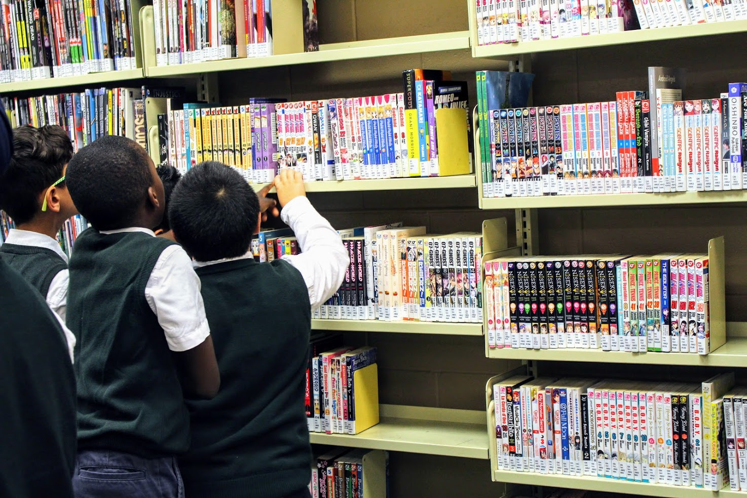 Children Browsing the graphic novel section